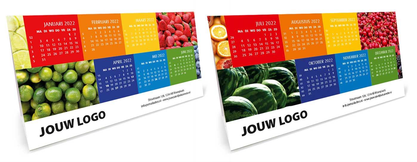 Bureaukalender driehoekskalender liggend 2022. Thema fruit