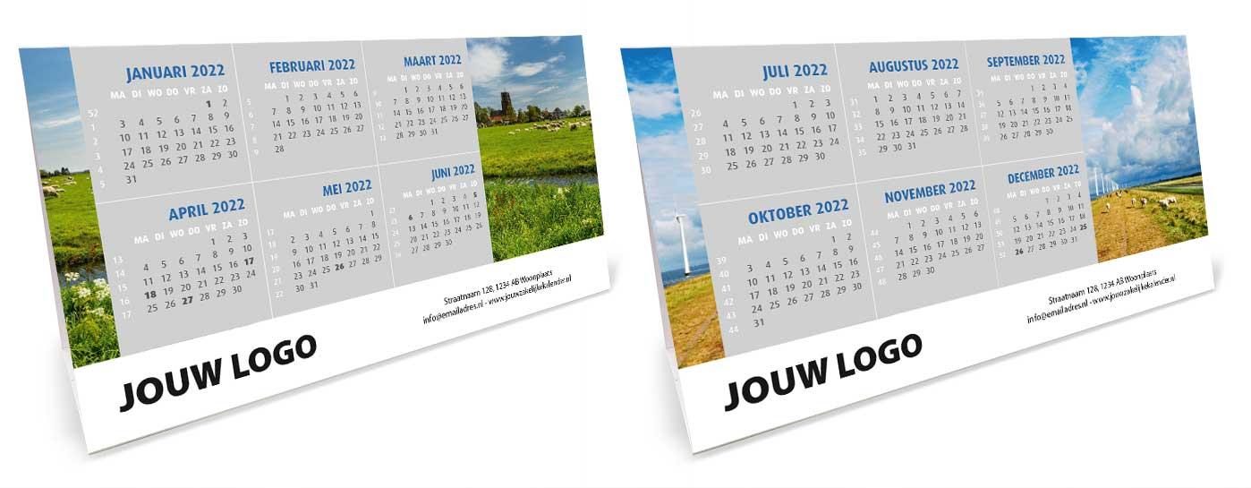 Bureaukalender driehoekskalender liggend 2022. Thema Holland