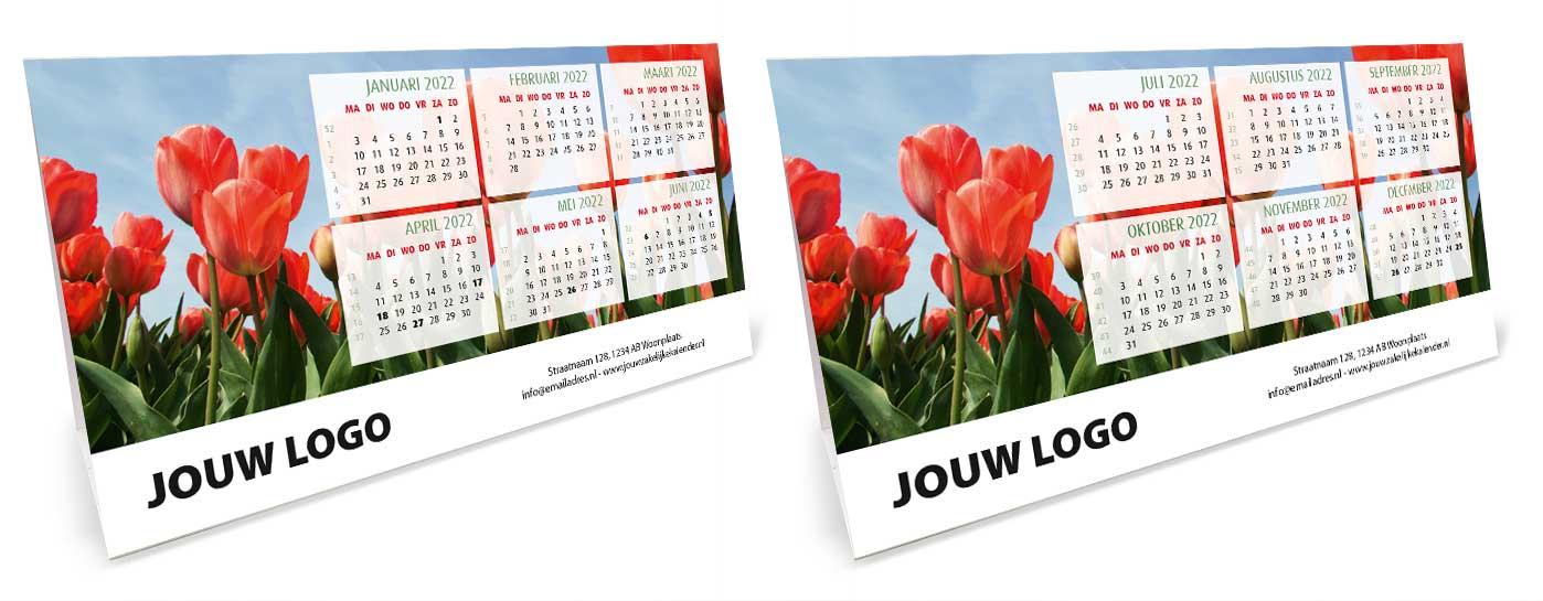Bureaukalender driehoekskalender liggend 2022. Thema tulpen